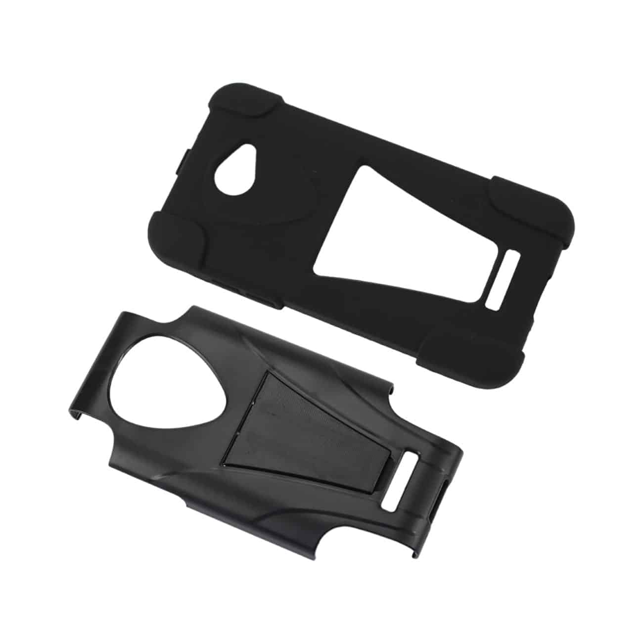 HTC DROID DNA HYBRID HEAVY DUTY CASE WITH KICKSTAND IN BLACK