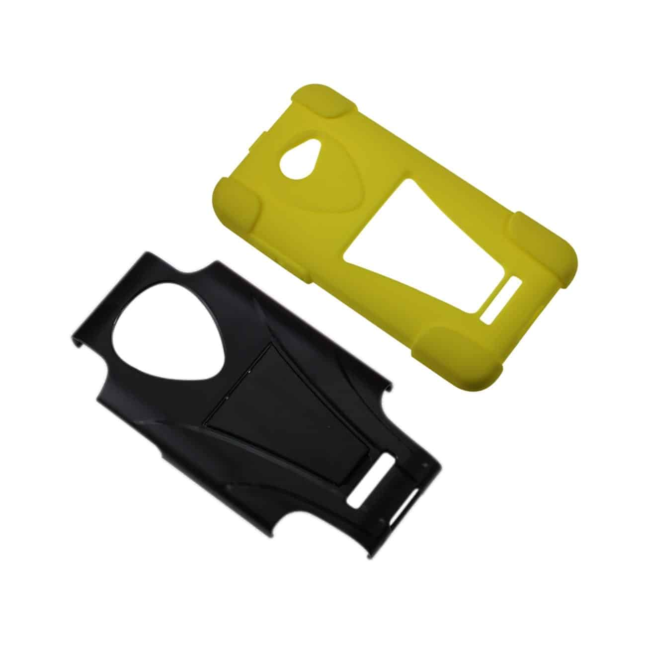 HTC DROID DNA HYBRID HEAVY DUTY CASE WITH KICKSTAND IN BLACK YELLOW