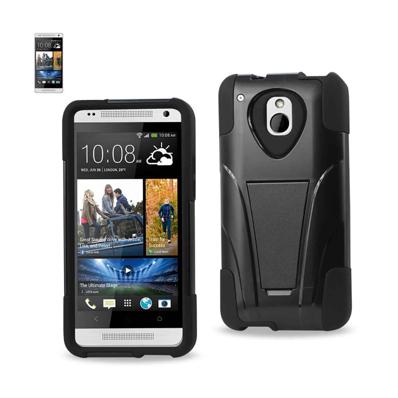 HTC ONE MINI M4 HYBRID HEAVY DUTY CASE WITH KICKSTAND IN BLACK