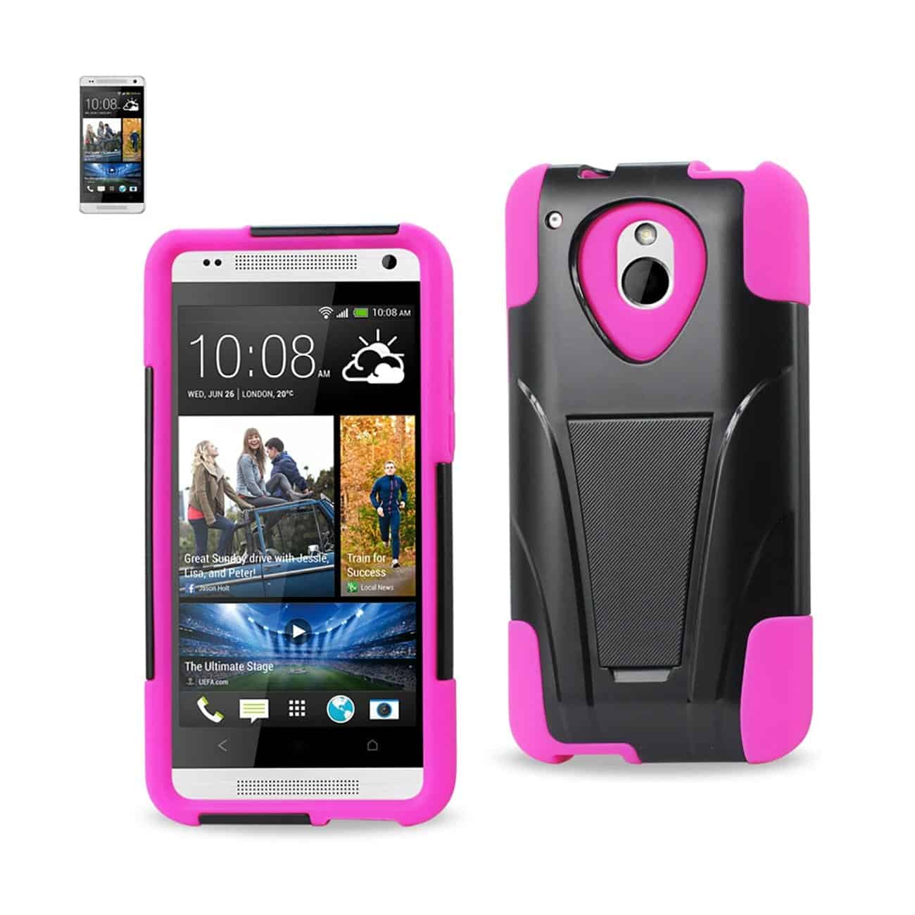 HTC ONE MINI M4 HYBRID HEAVY DUTY CASE WITH KICKSTAND IN HOT PINK BLACK