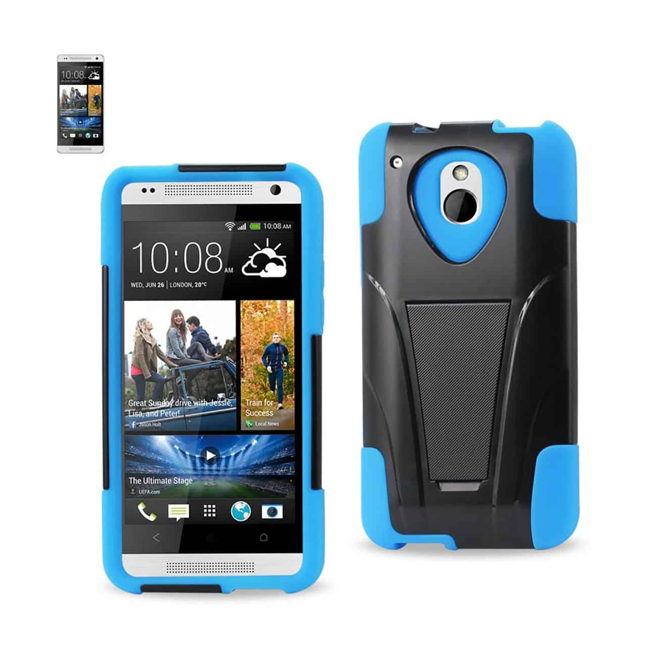 HTC ONE MINI M4 HYBRID HEAVY DUTY CASE WITH KICKSTAND IN NAVY BLACK
