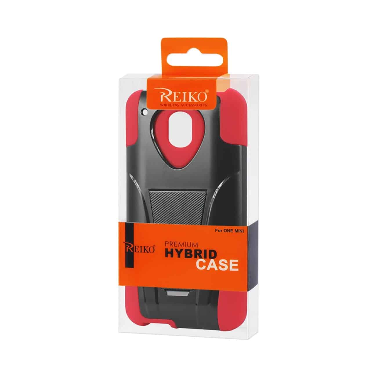HTC ONE MINI M4 HYBRID HEAVY DUTY CASE WITH KICKSTAND IN RED BLACK