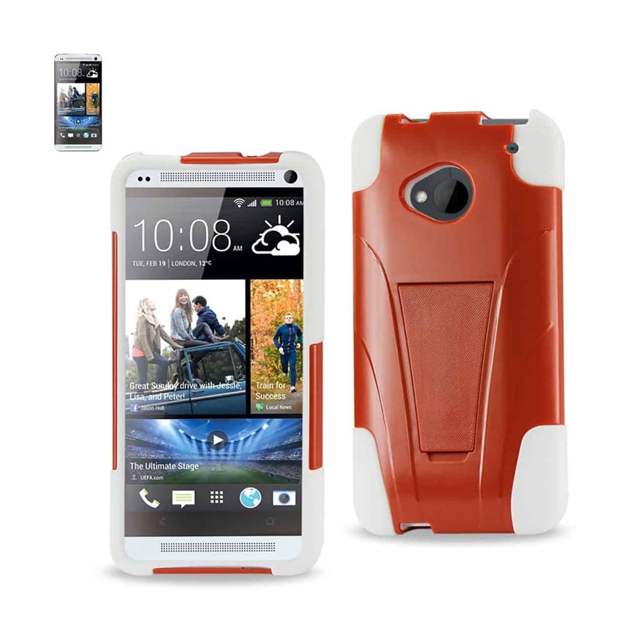 HTC ONE M7 HYBRID HEAVY DUTY CASE WITH KICKSTAND IN ORANGE WHITE