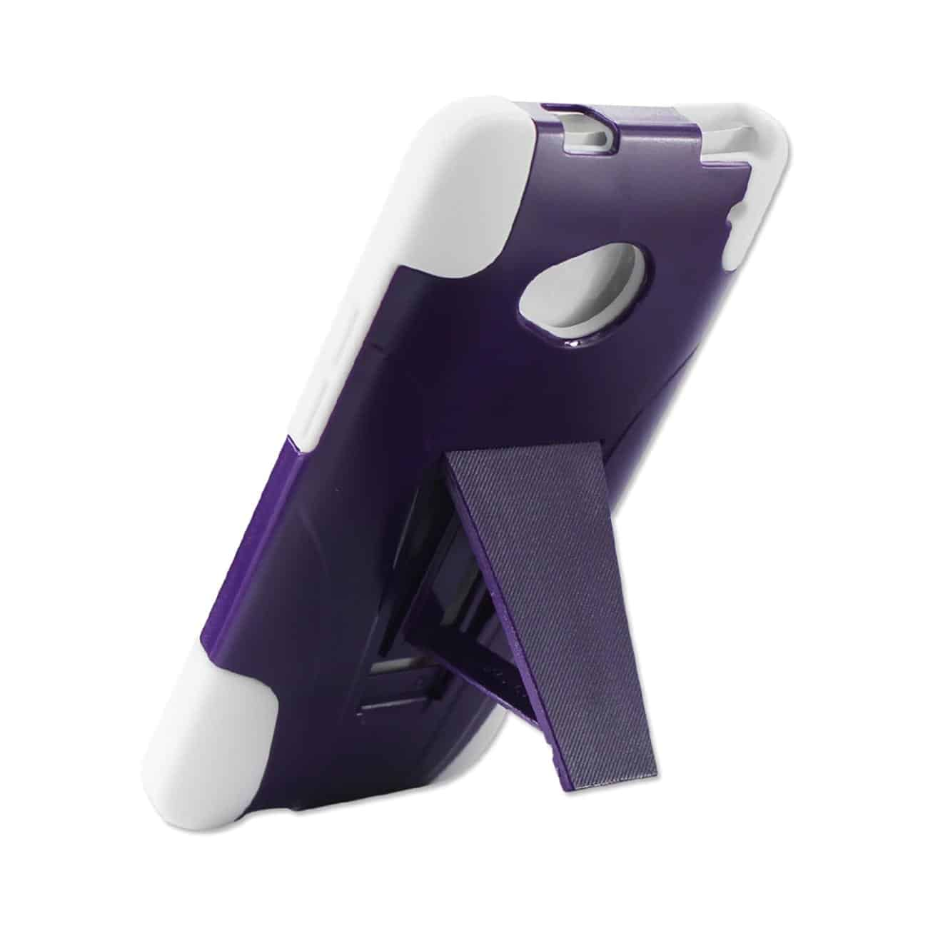 HTC ONE M7 HYBRID HEAVY DUTY CASE WITH KICKSTAND IN PURPLE WHITE