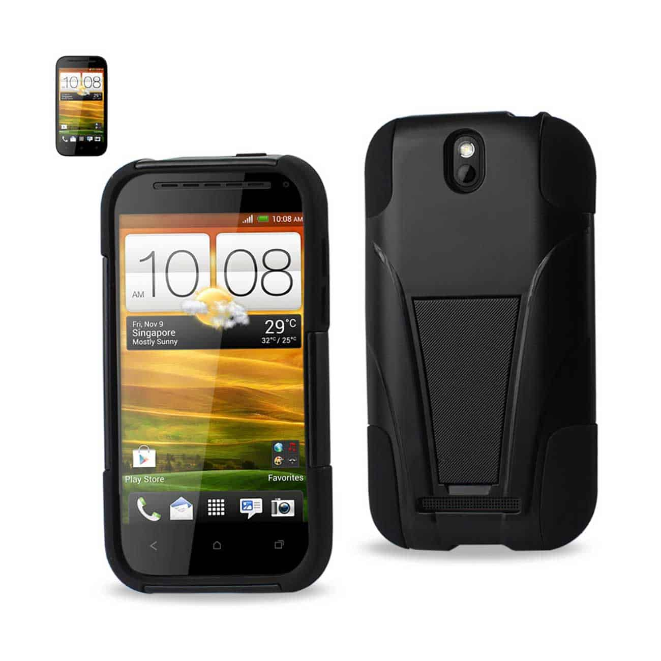 HTC ONE SV HYBRID HEAVY DUTY CASE WITH KICKSTAND IN BLACK