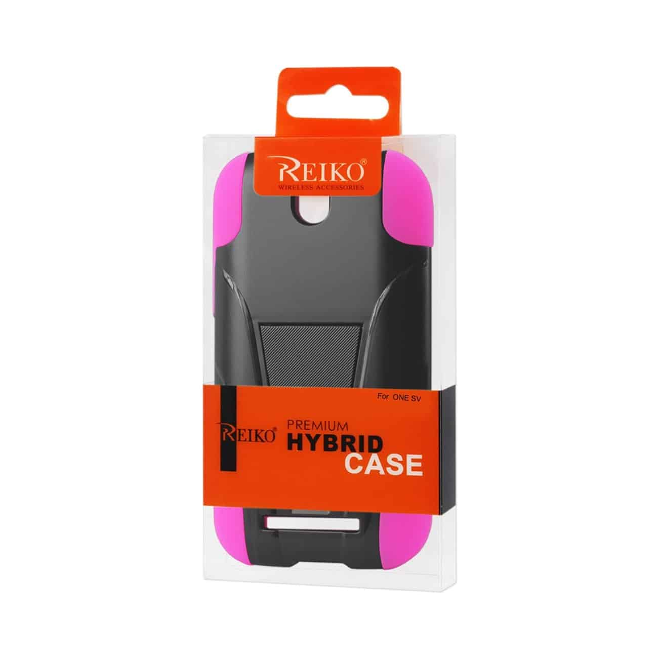 HTC ONE SV HYBRID HEAVY DUTY CASE WITH KICKSTAND IN BLACK HOT PINK