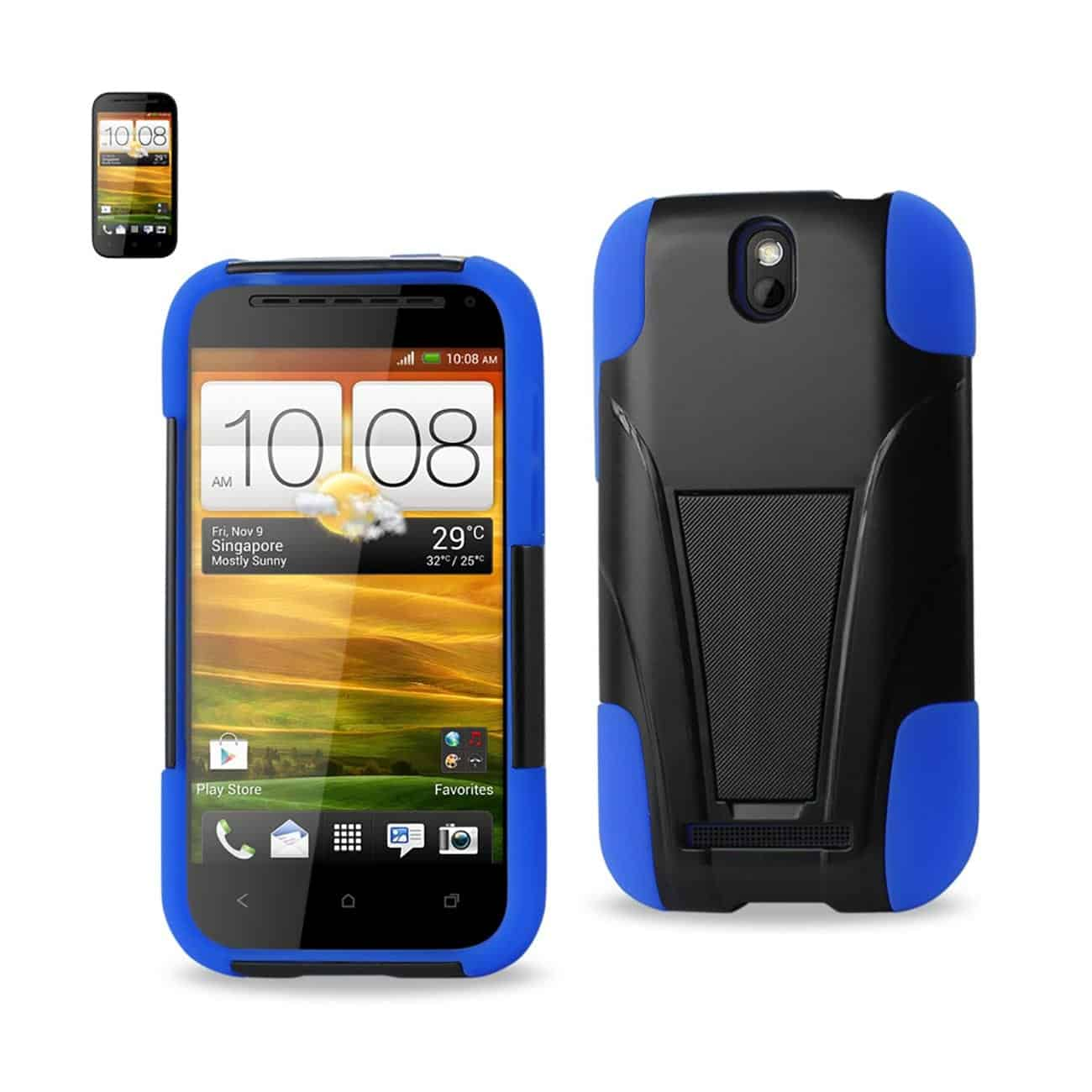 HTC ONE SV HYBRID HEAVY DUTY CASE WITH KICKSTAND IN BLACK NAVY