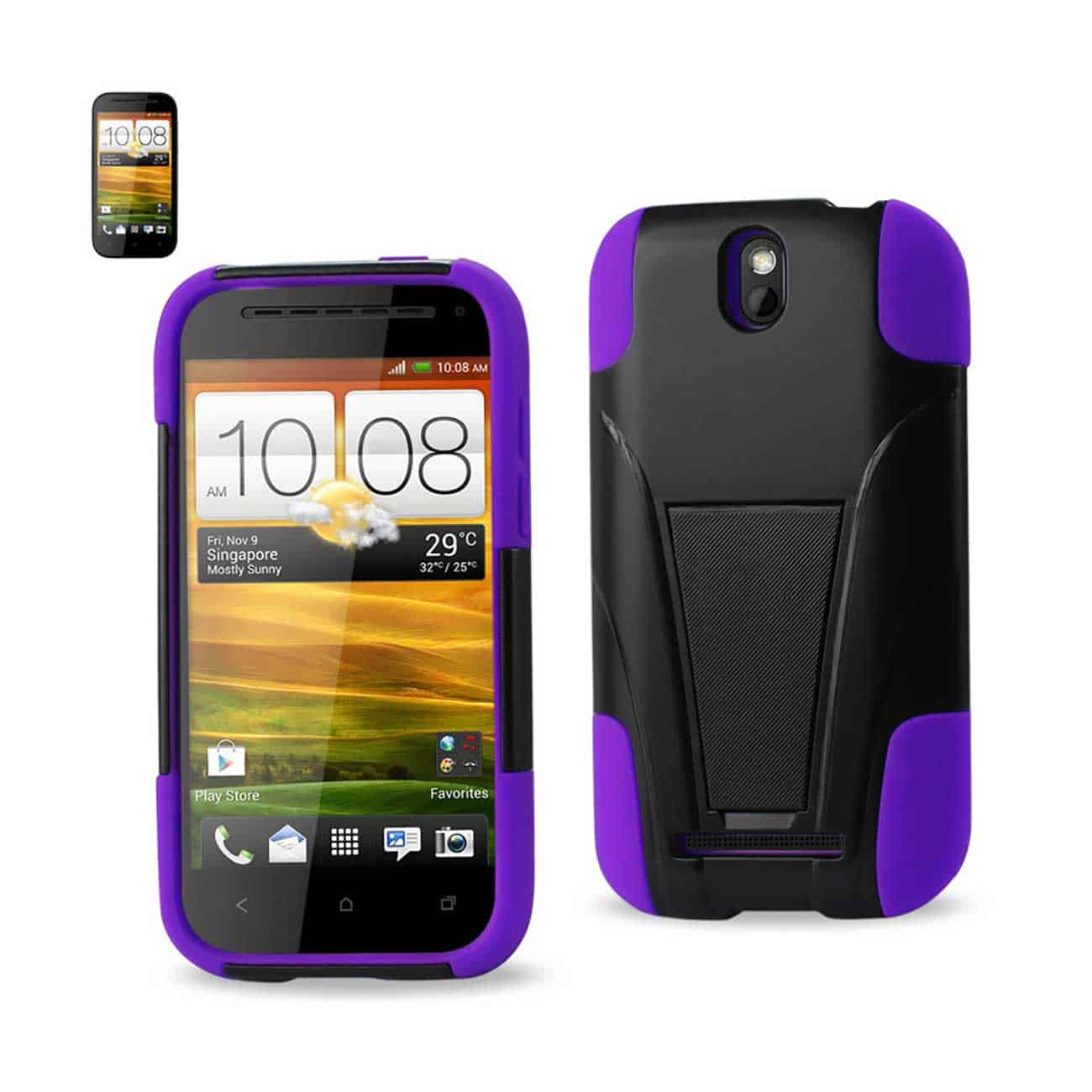 HTC ONE SV HYBRID HEAVY DUTY CASE WITH KICKSTAND IN BLACK PURPLE