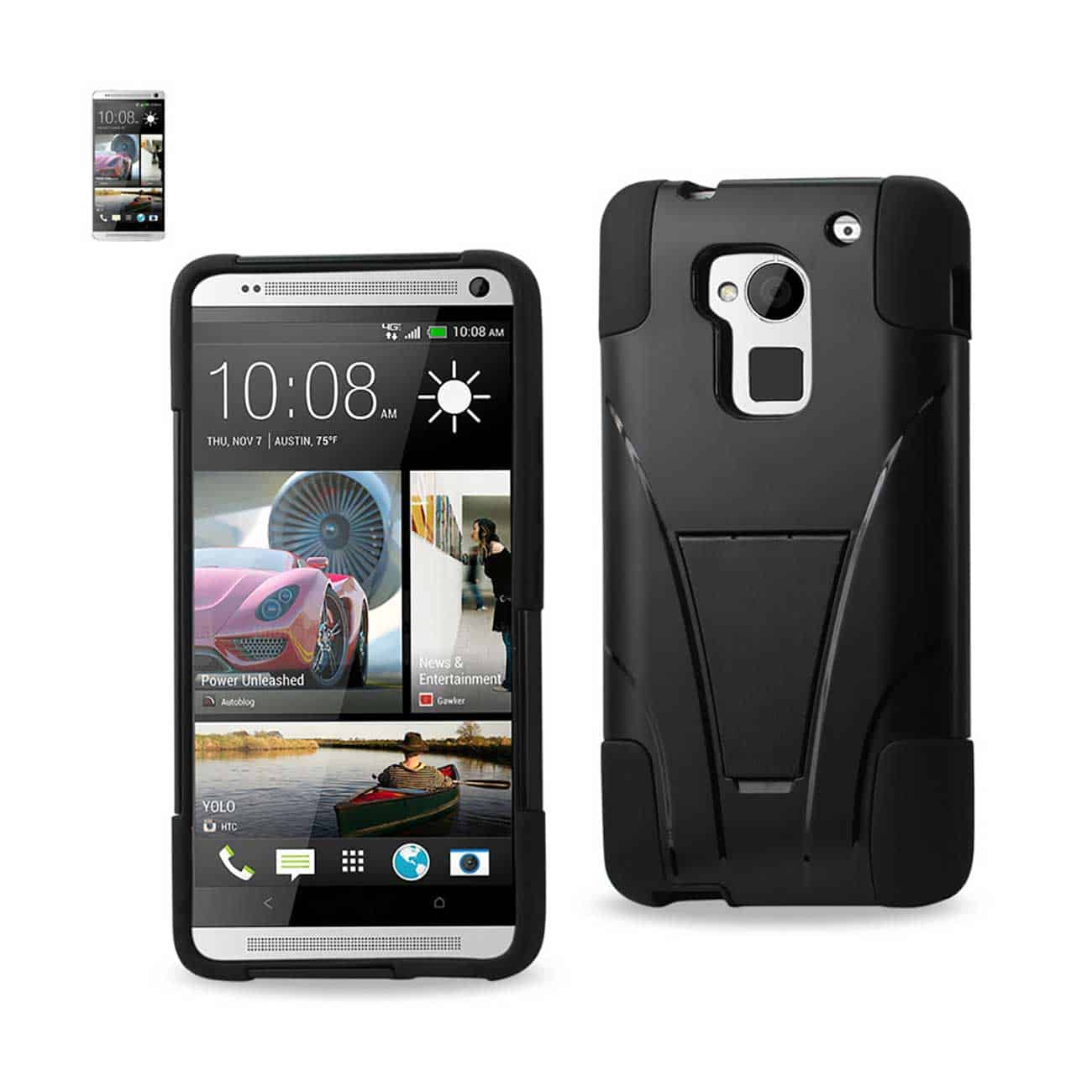 HTC ONE MAX HYBRID HEAVY DUTY CASE WITH KICKSTAND IN BLACK