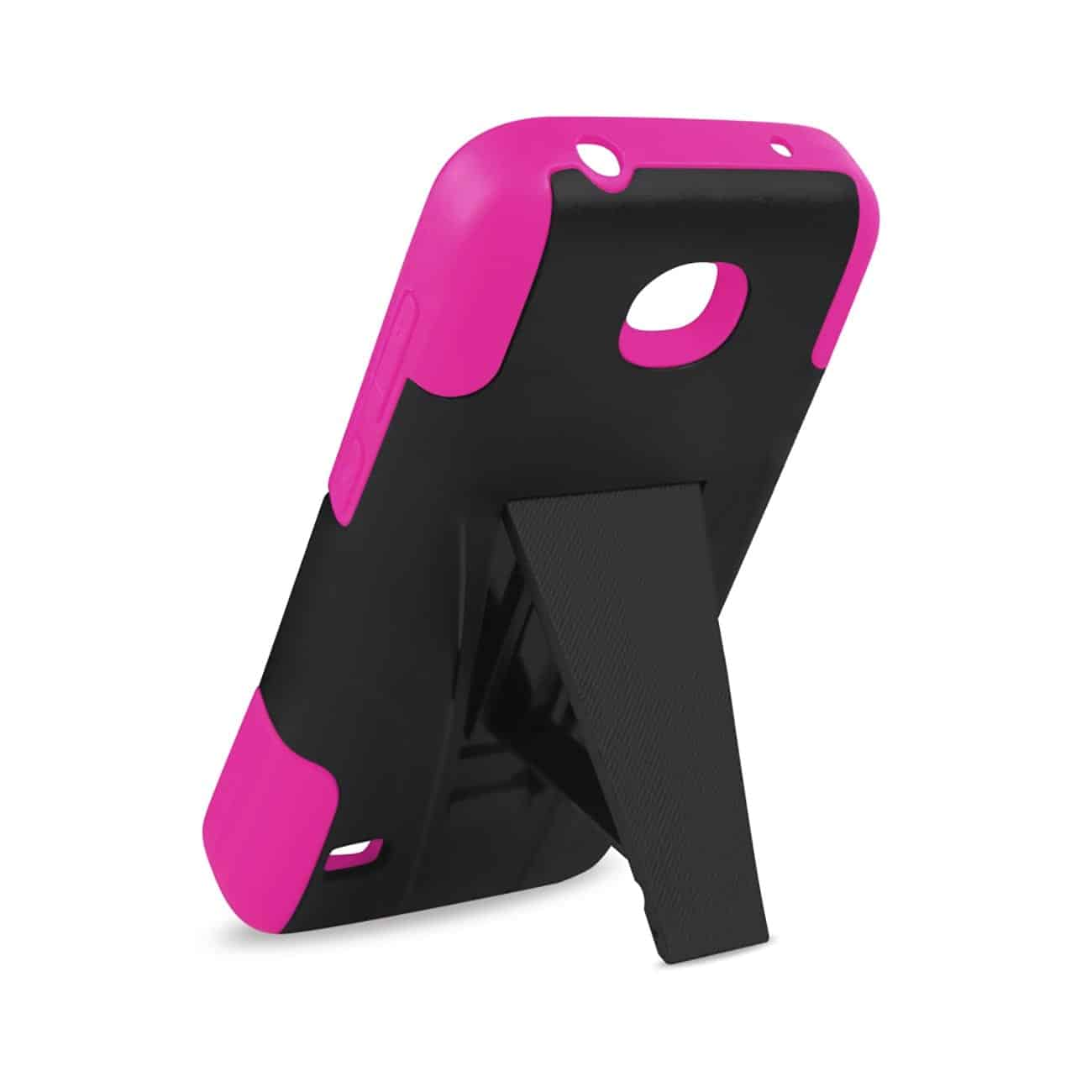 HUAWEI UNION HYBRID HEAVY DUTY CASE WITH KICKSTAND IN HOT PINK BLACK
