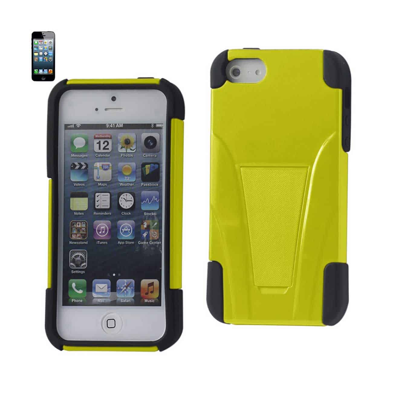 IPHONE 5/5S/SE HYBRID HEAVY DUTY CASE WITH KICKSTAND IN YELLOW BLACK