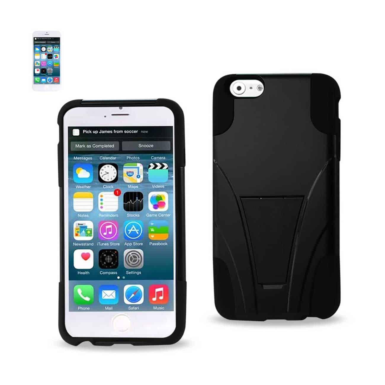 IPHONE 6 PLUS HYBRID HEAVY DUTY CASE WITH KICKSTAND IN BLACK