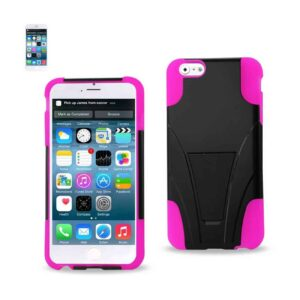 IPHONE 6 PLUS HYBRID HEAVY DUTY CASE WITH KICKSTAND IN HOT PINK BLACK