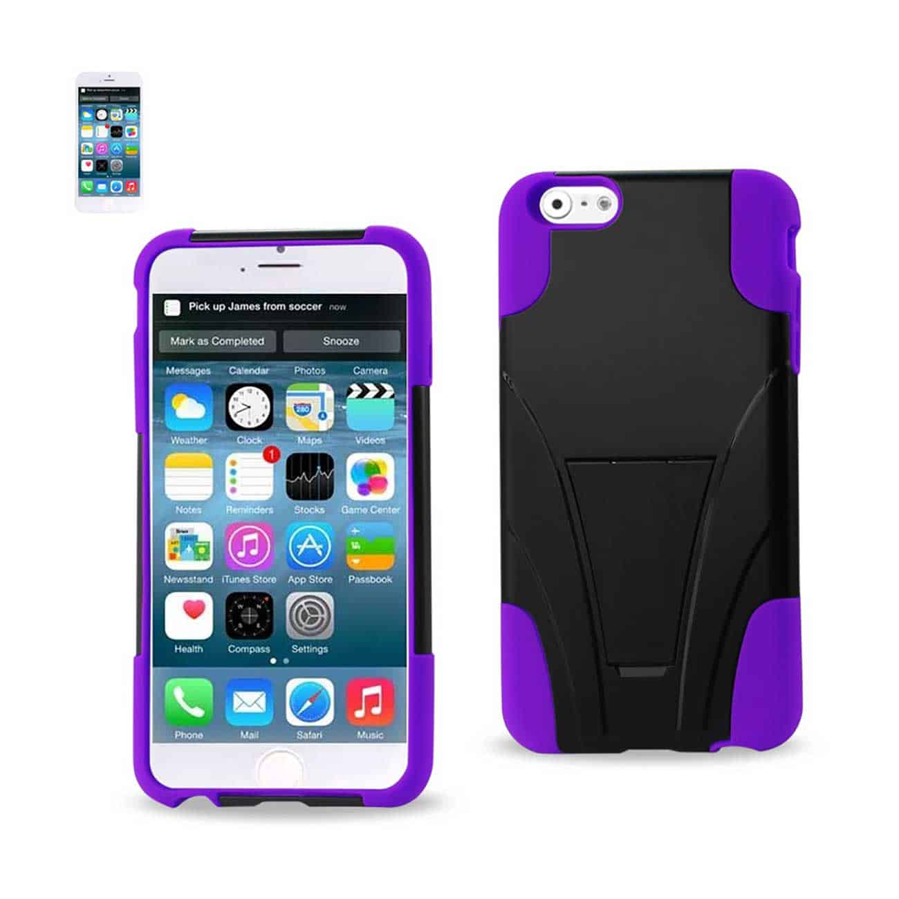 IPHONE 6 PLUS HYBRID HEAVY DUTY CASE WITH KICKSTAND IN PURPLE BLACK