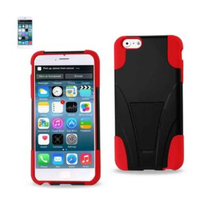 IPHONE 6 PLUS HYBRID HEAVY DUTY CASE WITH KICKSTAND IN RED BLACK