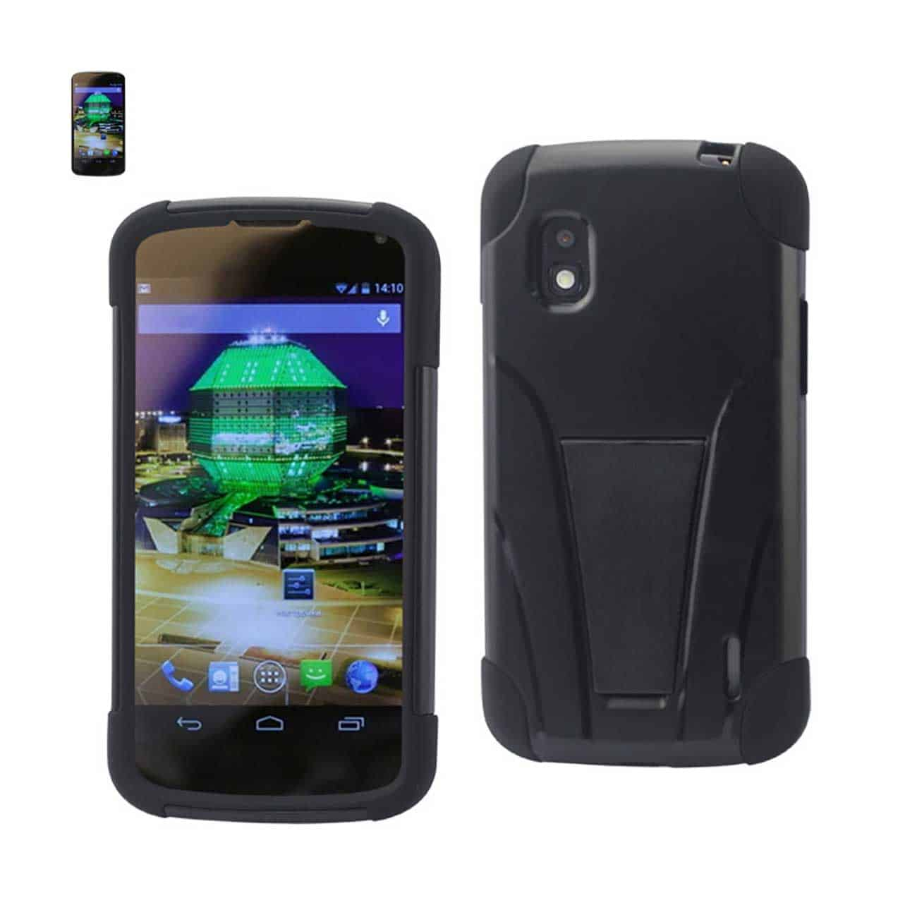 LG NEXUS 4 HYBRID HEAVY DUTY CASE WITH KICKSTAND IN BLACK