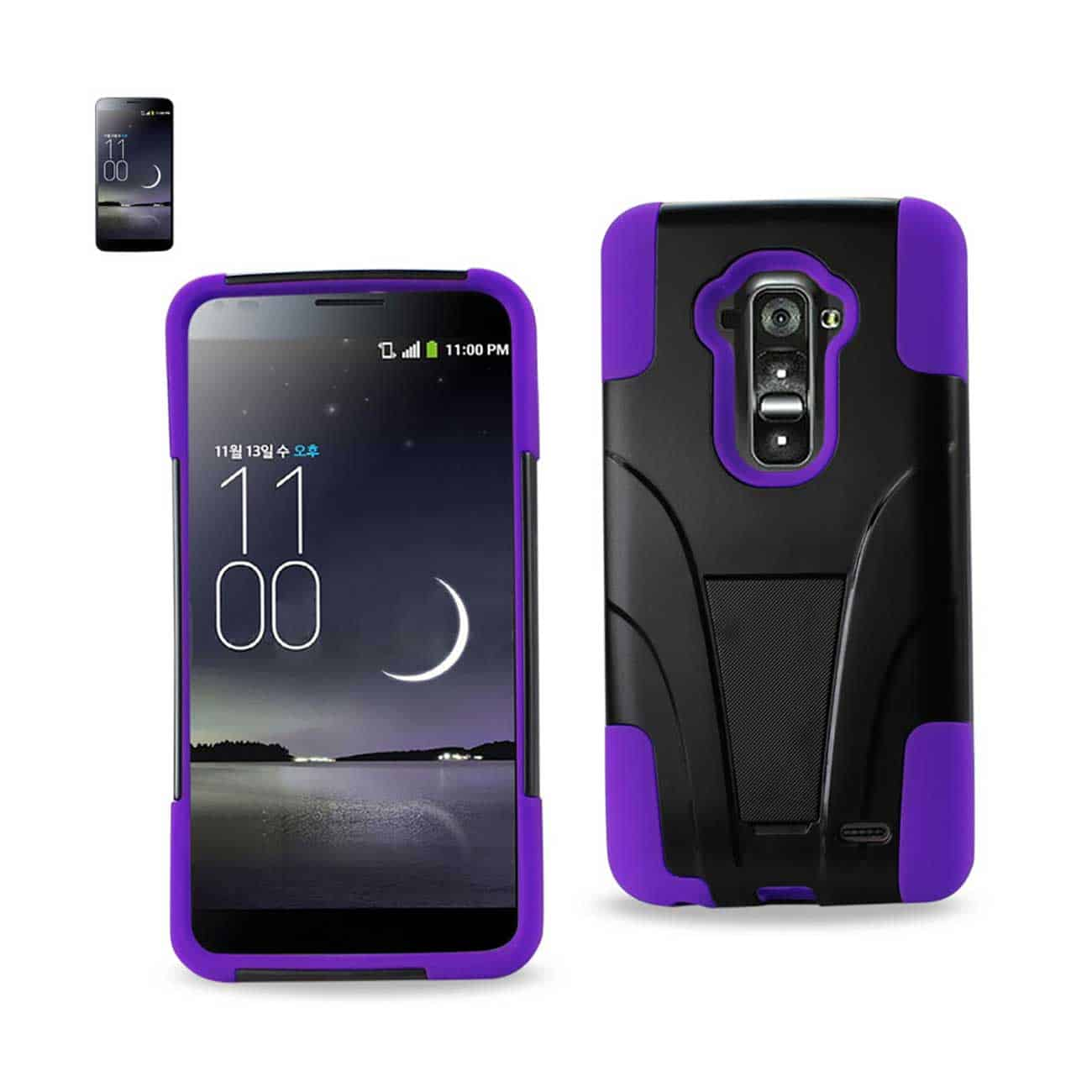 LG G FLEX HYBRID HEAVY DUTY CASE WITH KICKSTAND IN PURPLE BLACK