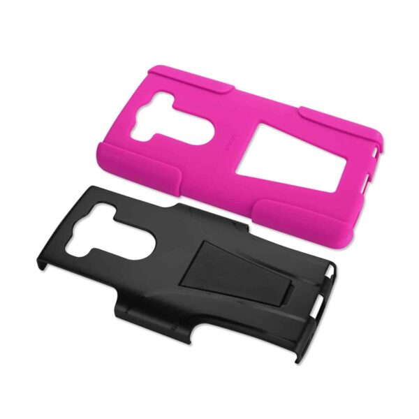 LG V10 HYBRID HEAVY DUTY CASE WITH KICKSTAND IN HOT PINK BLACK