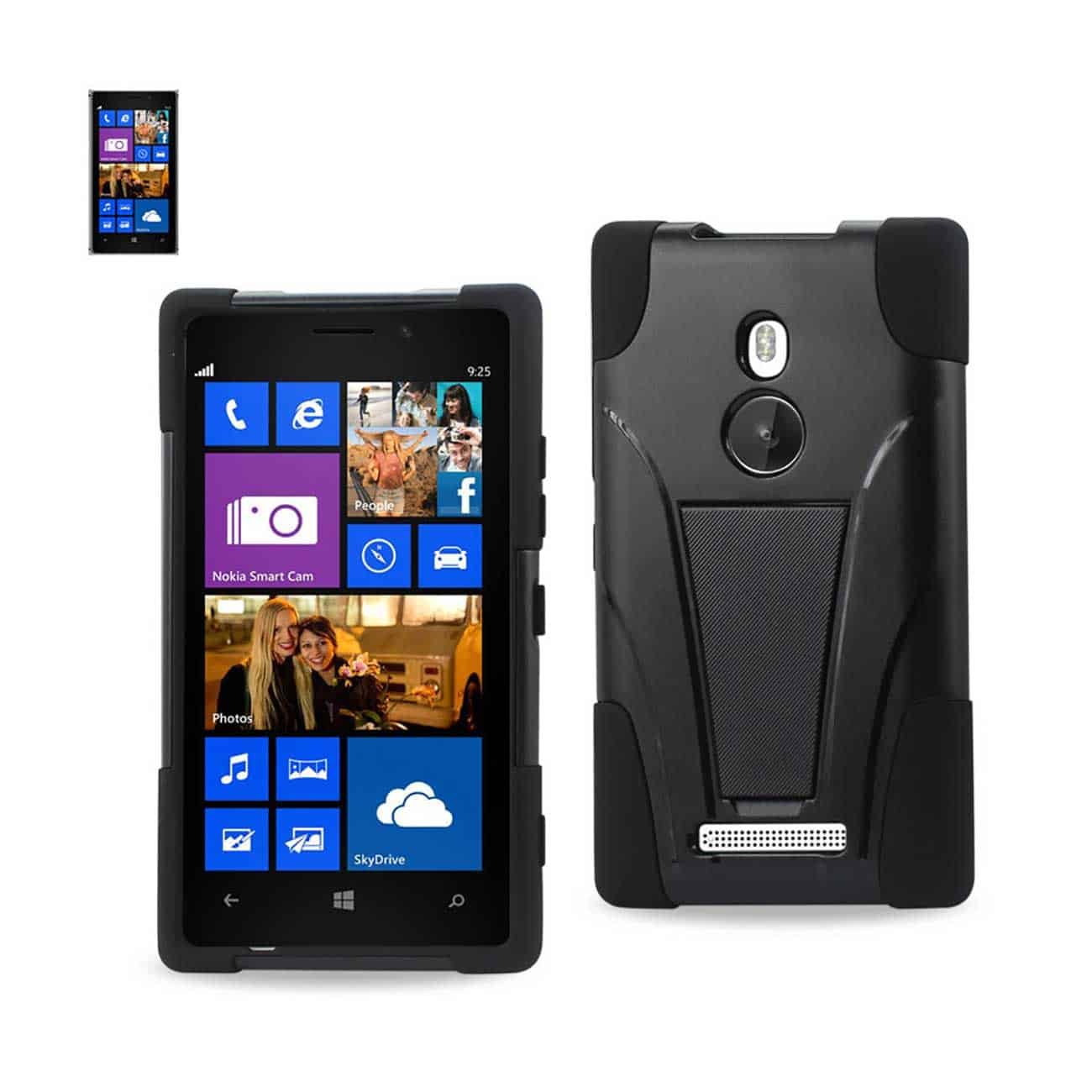 NOKIA LUMIA 925 HYBRID HEAVY DUTY CASE WITH KICKSTAND IN BLACK