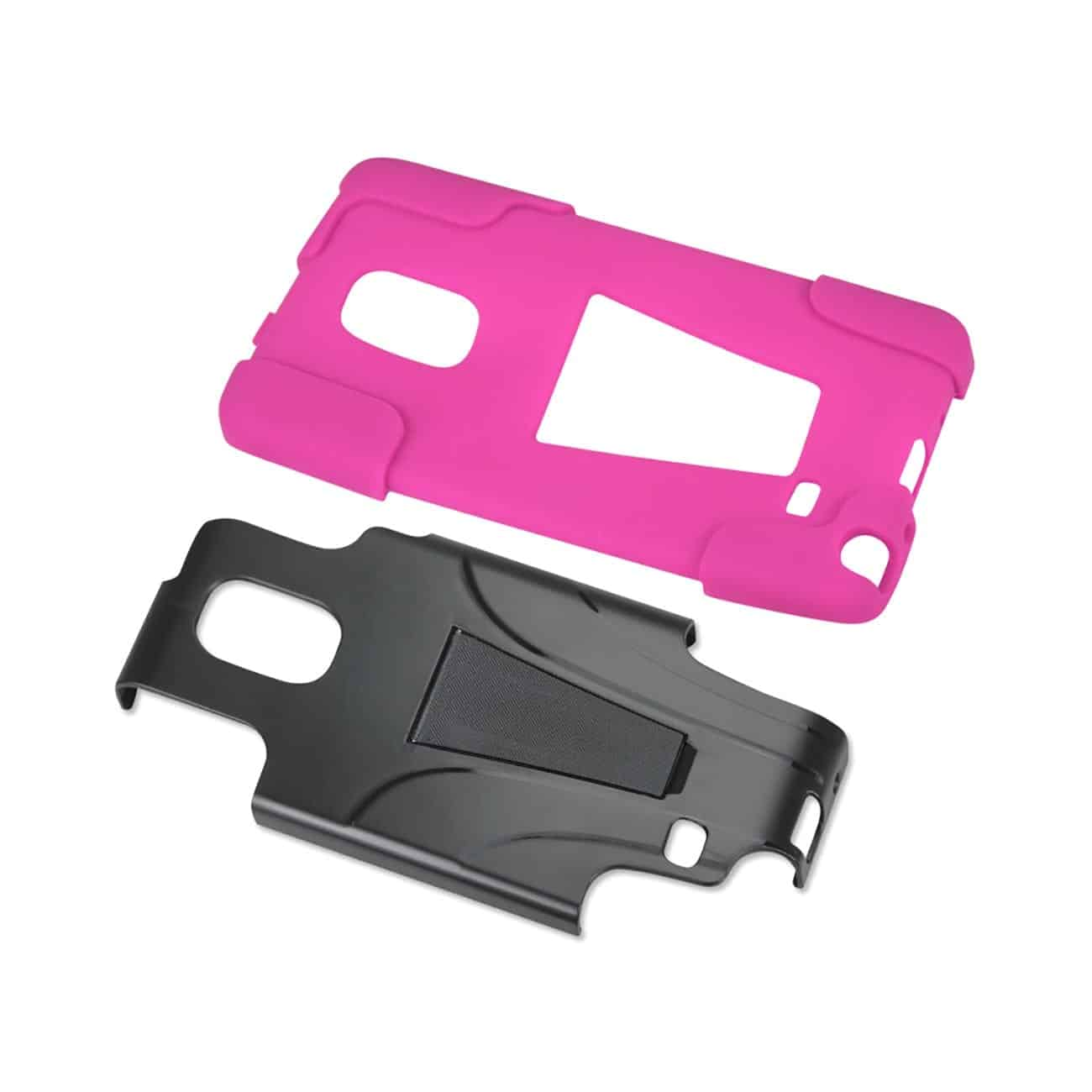 SAMSUNG GALAXY NOTE EDGE HYBRID HEAVY DUTY CASE WITH KICKSTAND IN HOT PINK BLACK