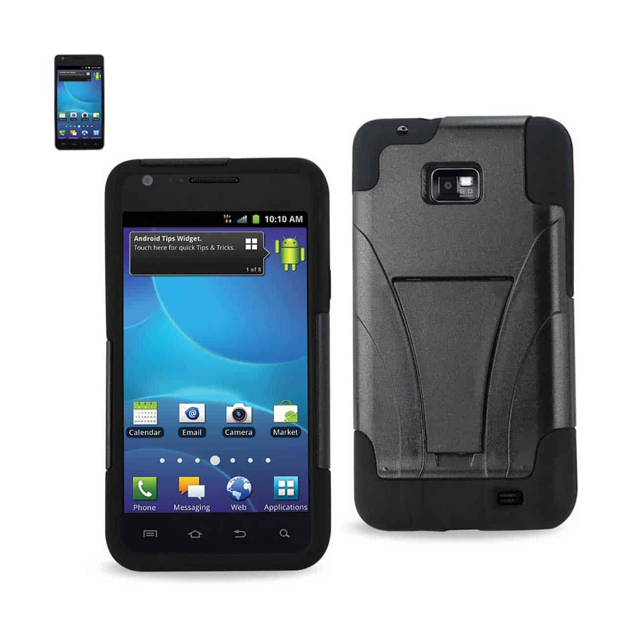 SAMSUNG GALAXY S2 HYBRID HEAVY DUTY CASE WITH KICKSTAND IN BLACK