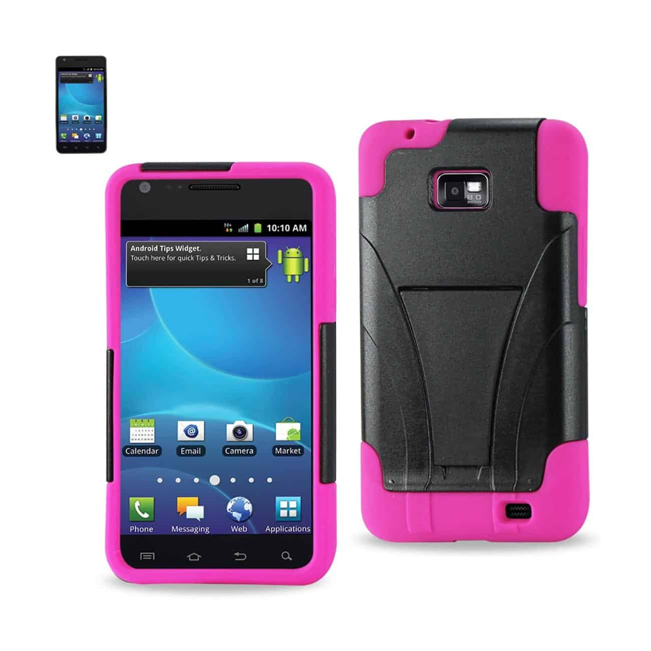 SAMSUNG GALAXY S2 HYBRID HEAVY DUTY CASE WITH KICKSTAND IN HOT PINK BLACK