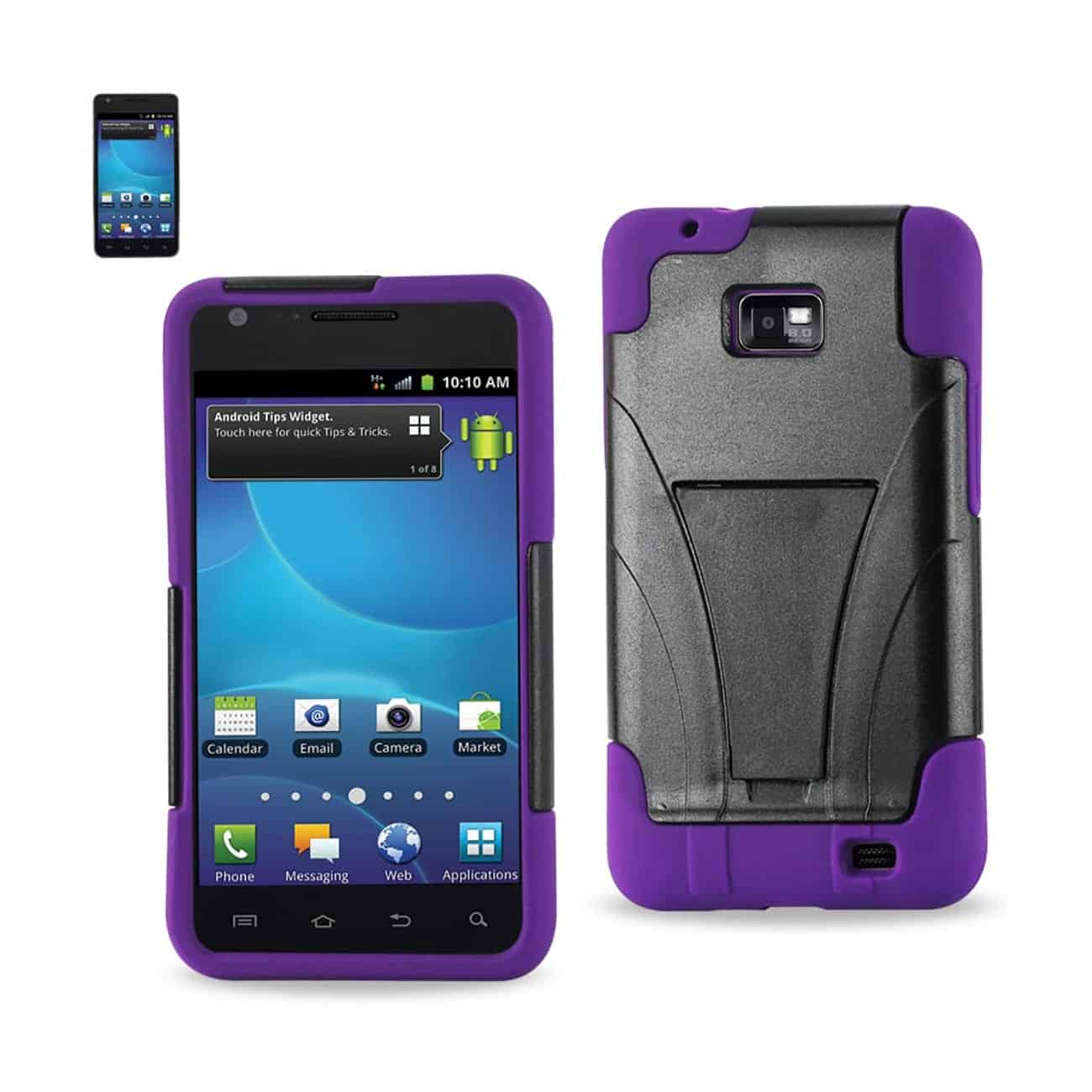 SAMSUNG GALAXY S2 HYBRID HEAVY DUTY CASE WITH KICKSTAND IN PURPLE BLACK
