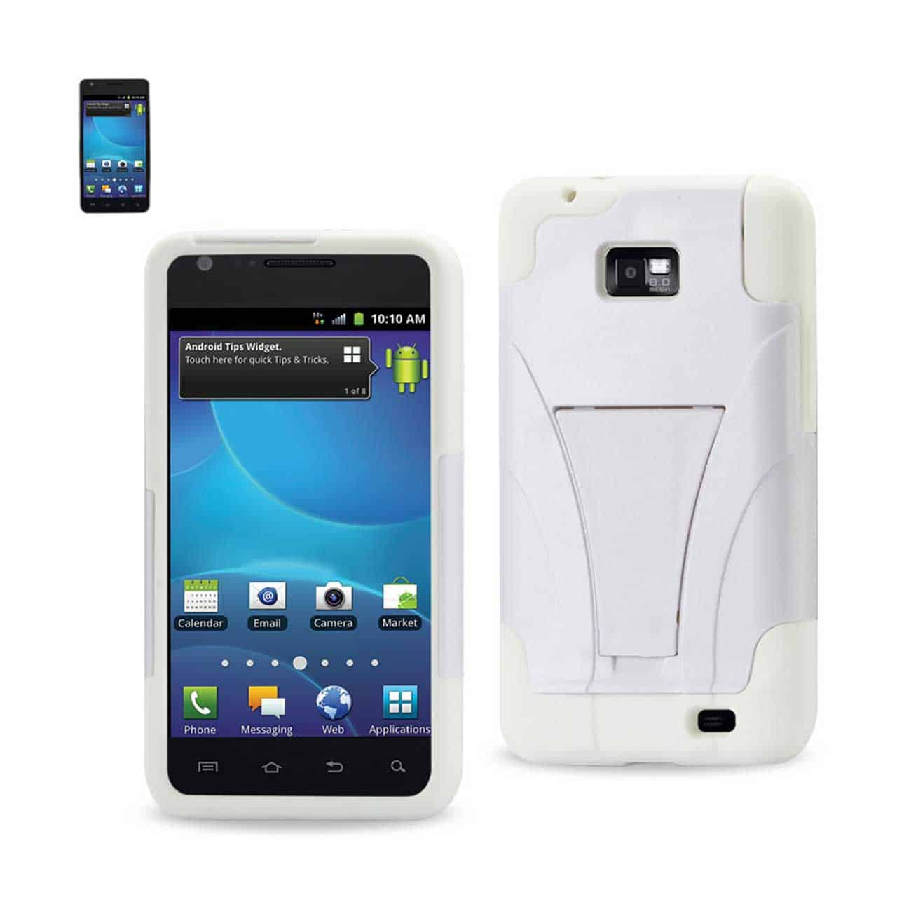 SAMSUNG GALAXY S2 HYBRID HEAVY DUTY CASE WITH KICKSTAND IN WHITE