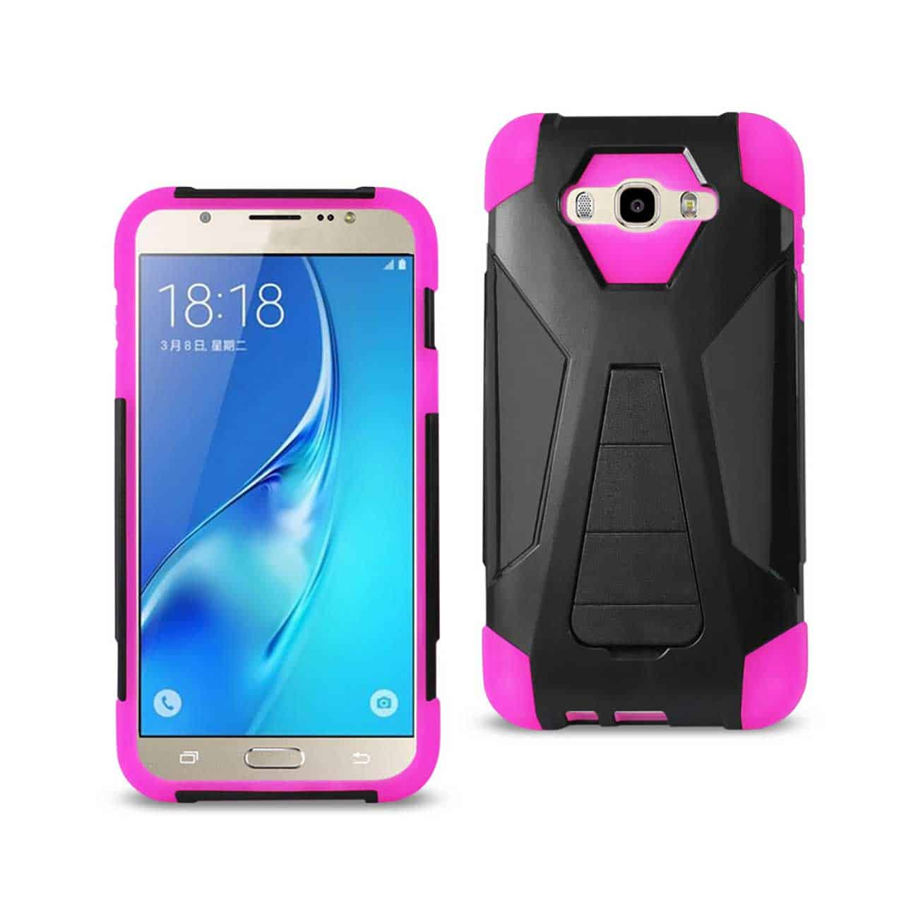 SAMSUNG GALAXY J7 (2016) HYBRID HEAVY DUTY CASE WITH KICKSTAND IN HOT PINK BLACK