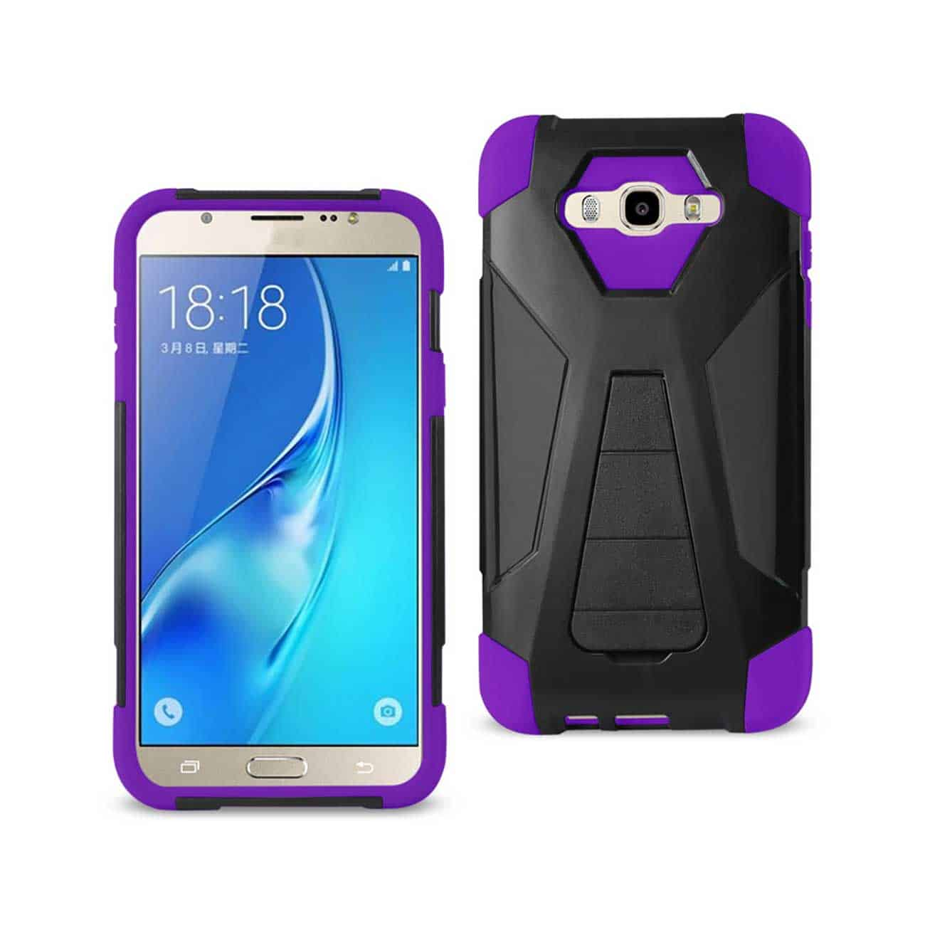 SAMSUNG GALAXY J7 (2016) HYBRID HEAVY DUTY CASE WITH KICKSTAND IN PURPLE BLACK
