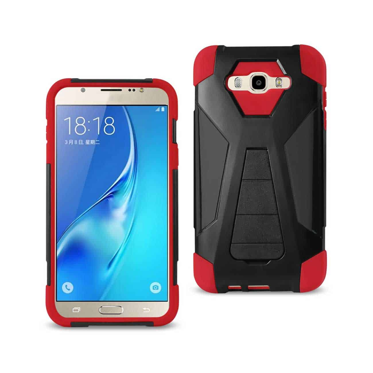 SAMSUNG GALAXY J7 (2016) HYBRID HEAVY DUTY CASE WITH KICKSTAND IN RED BLACK