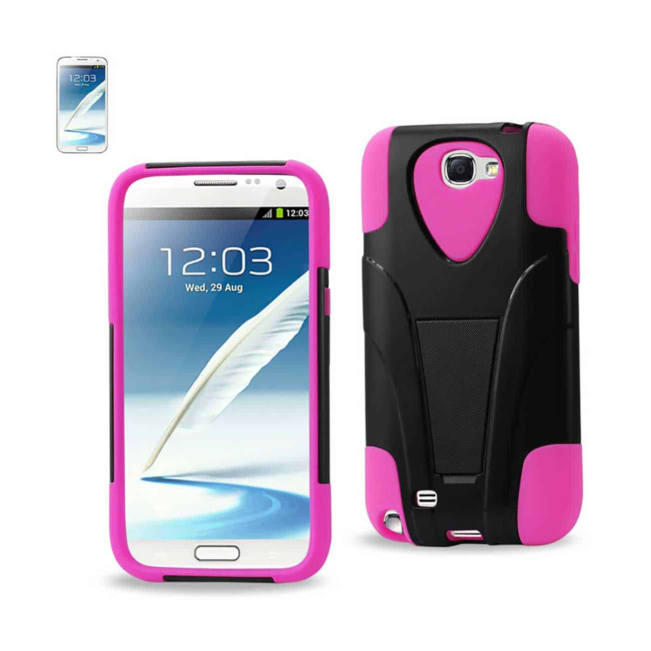 SAMSUNG GALAXY NOTE 2 HYBRID HEAVY DUTY CASE WITH KICKSTAND IN BLACK HOT PINK