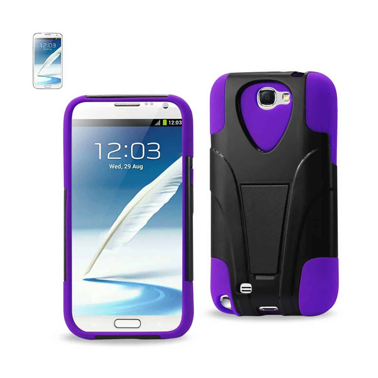 SAMSUNG GALAXY NOTE 2 HYBRID HEAVY DUTY CASE WITH KICKSTAND IN BLACK PURPLE