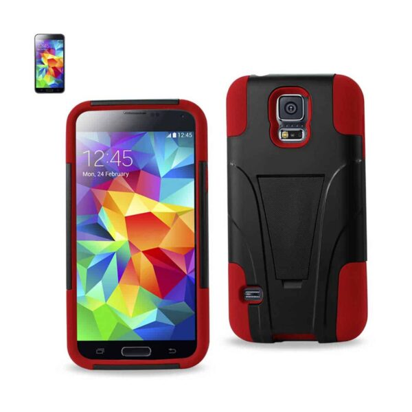 SAMSUNG GALAXY S5 HYBRID HEAVY DUTY CASE WITH KICKSTAND IN RED BLACK