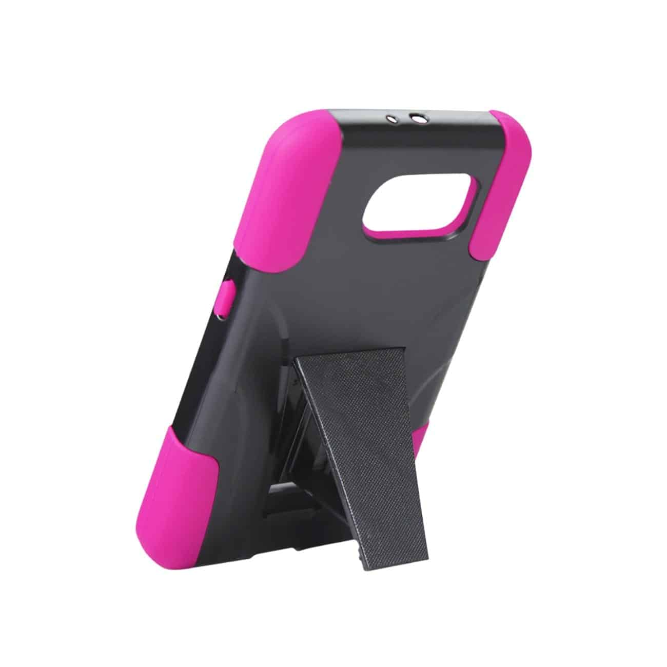 SAMSUNG GALAXY S6 HYBRID HEAVY DUTY CASE WITH KICKSTAND IN HOT PINK BLACK