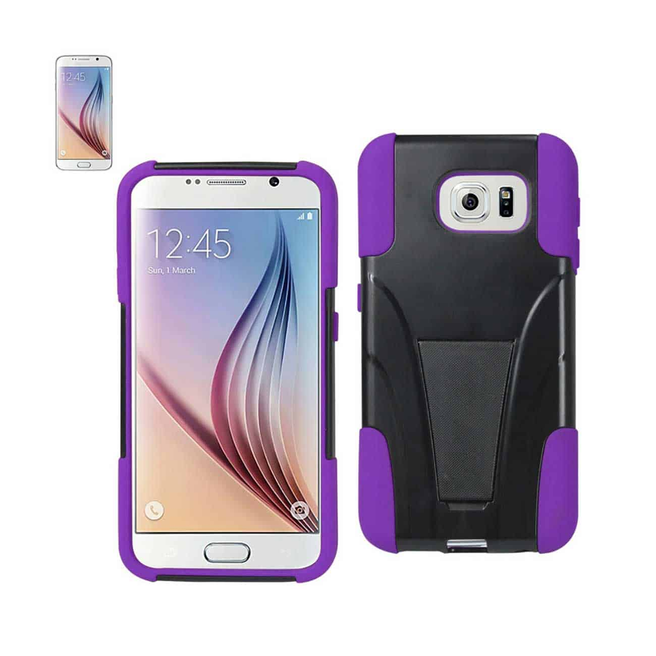 SAMSUNG GALAXY S6 HYBRID HEAVY DUTY CASE WITH KICKSTAND IN PURPLE BLACK