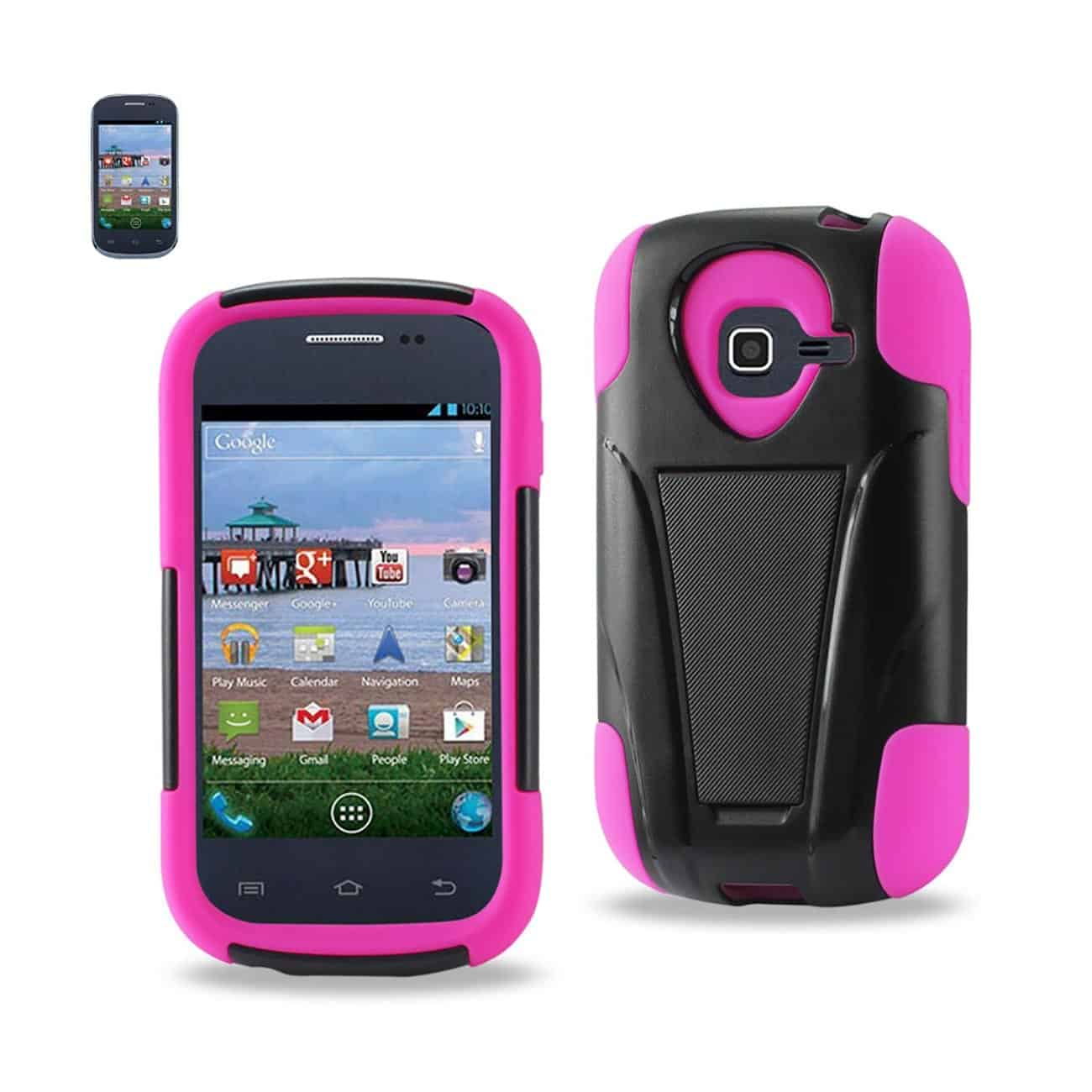 SAMSUNG GALAXY CENTURA HYBRID HEAVY DUTY CASE WITH KICKSTAND IN HOT PINK BLACK