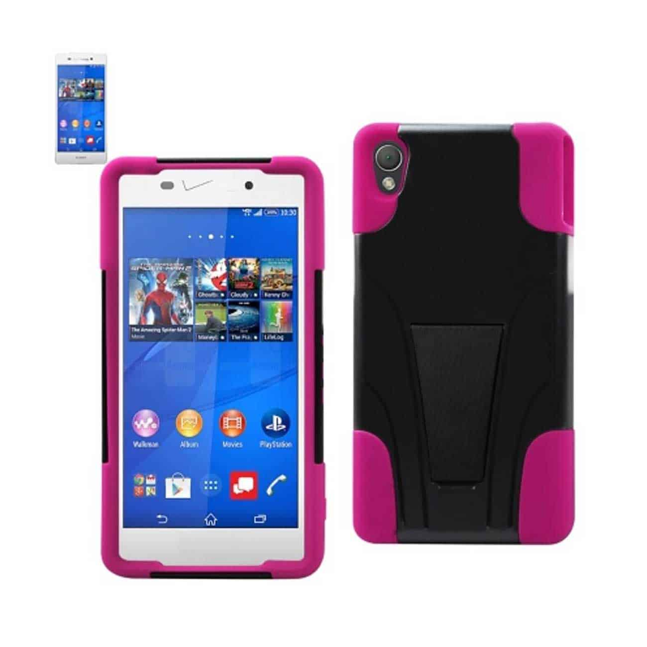 SONY XPERIA Z3V HYBRID HEAVY DUTY CASE WITH KICKSTAND IN HOT PINK BLACK