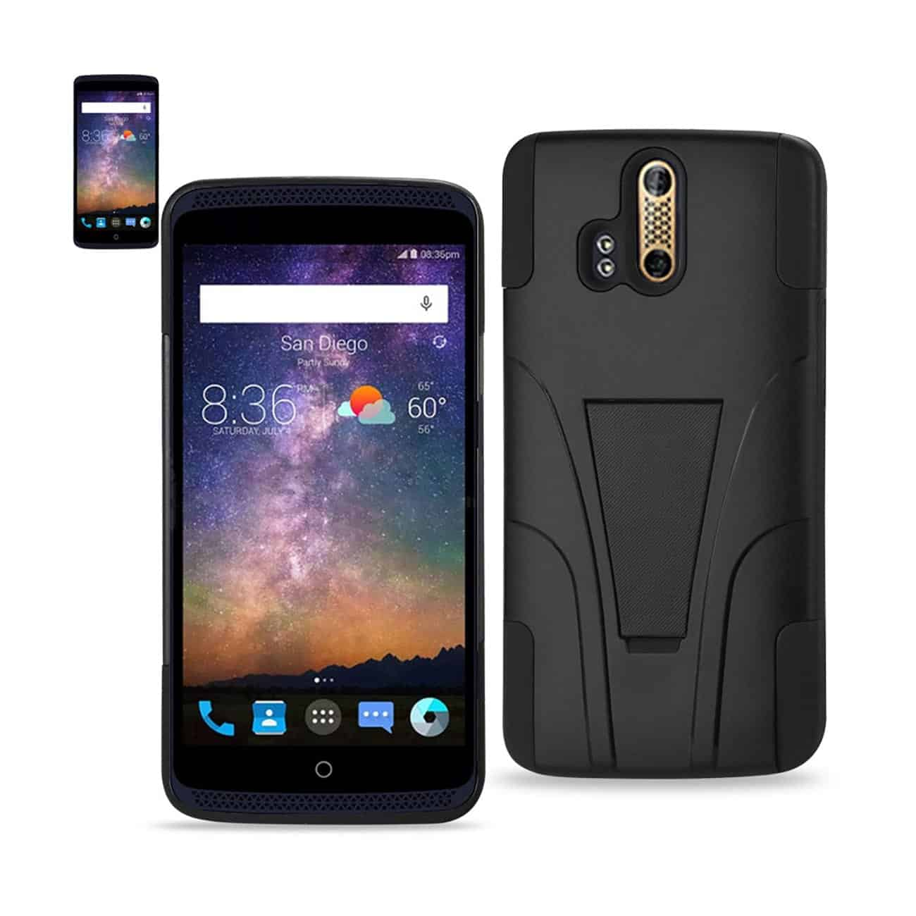 ZTE AXON PRO HYBRID HEAVY DUTY CASE WITH KICKSTAND IN BLACK