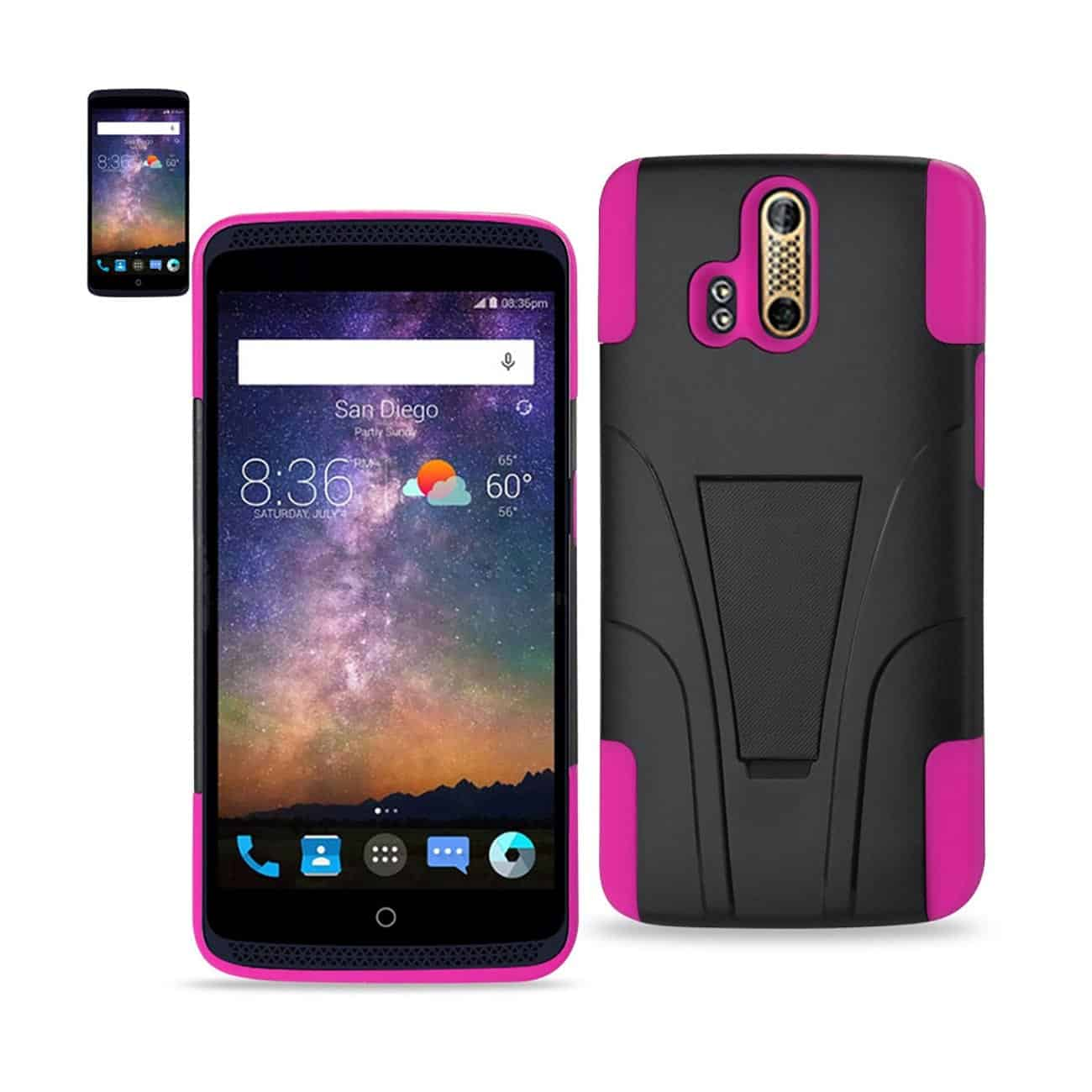 ZTE AXON PRO HYBRID HEAVY DUTY CASE WITH KICKSTAND IN HOT PINK BLACK