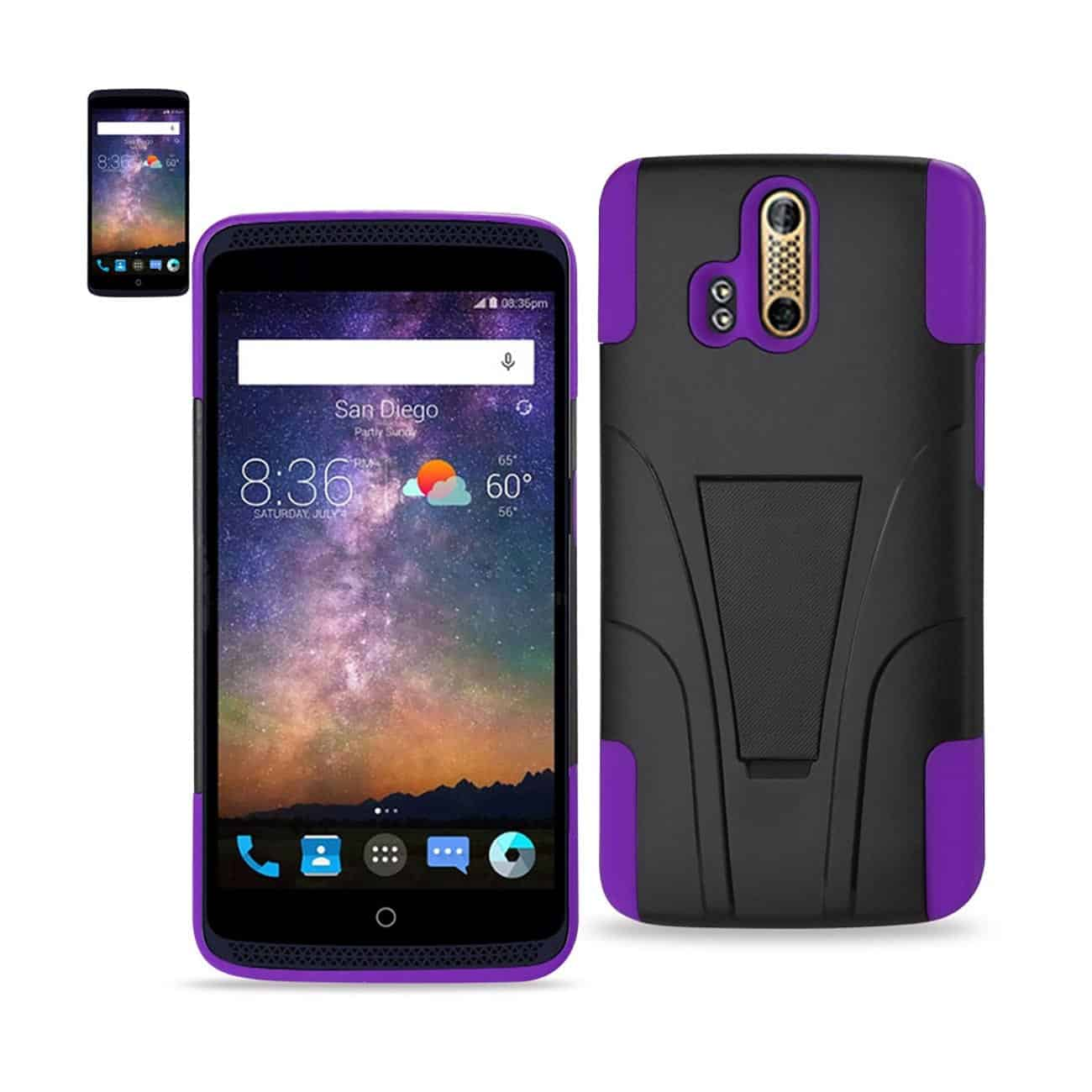 ZTE AXON PRO HYBRID HEAVY DUTY CASE WITH KICKSTAND IN PURPLE BLACK