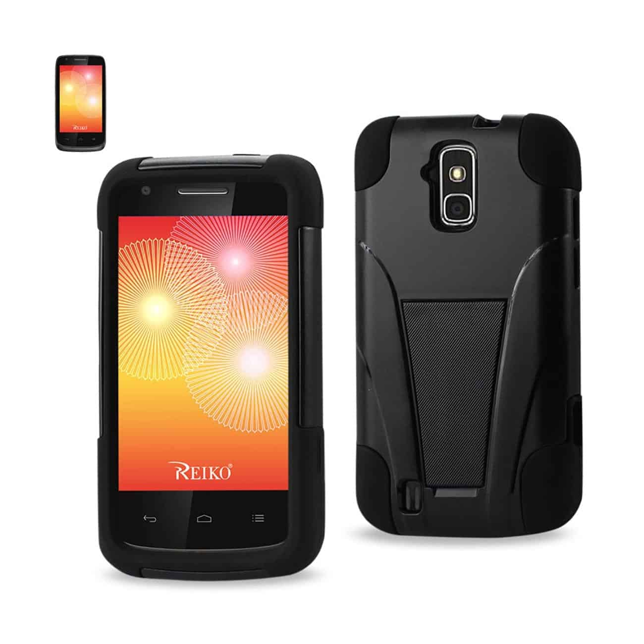 ZTE FORCE HYBRID HEAVY DUTY CASE WITH KICKSTAND IN BLACK
