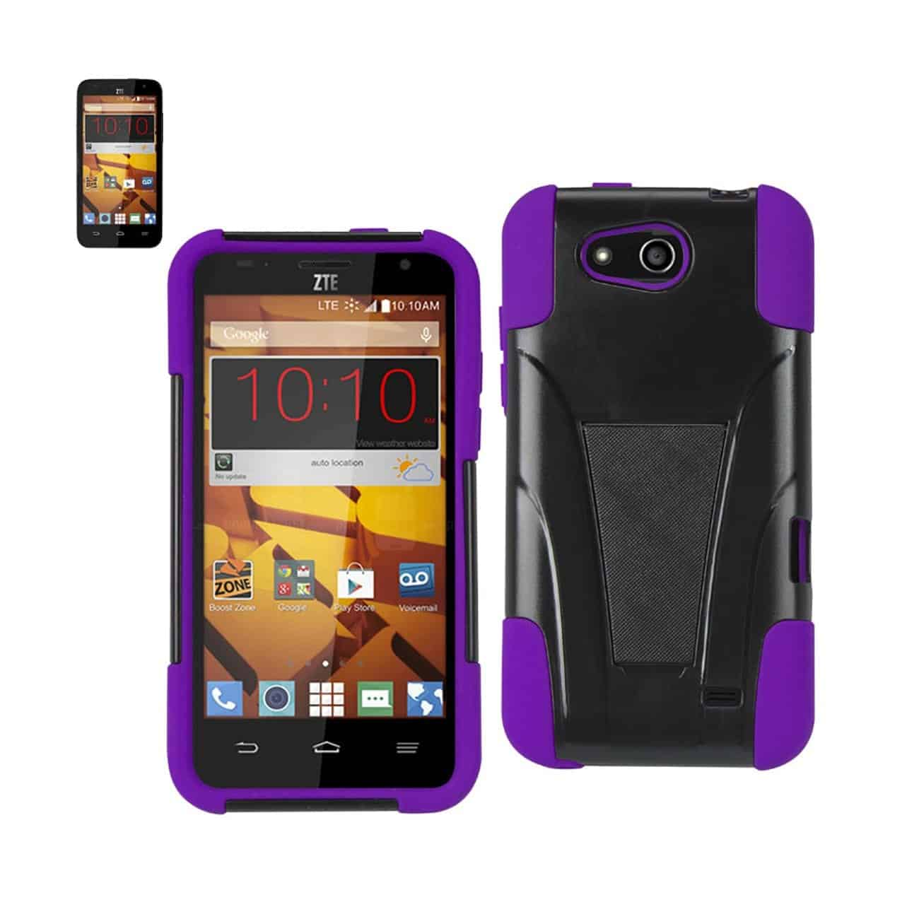 ZTE SPEED HYBRID HEAVY DUTY CASE WITH KICKSTAND IN PURPLE BLACK