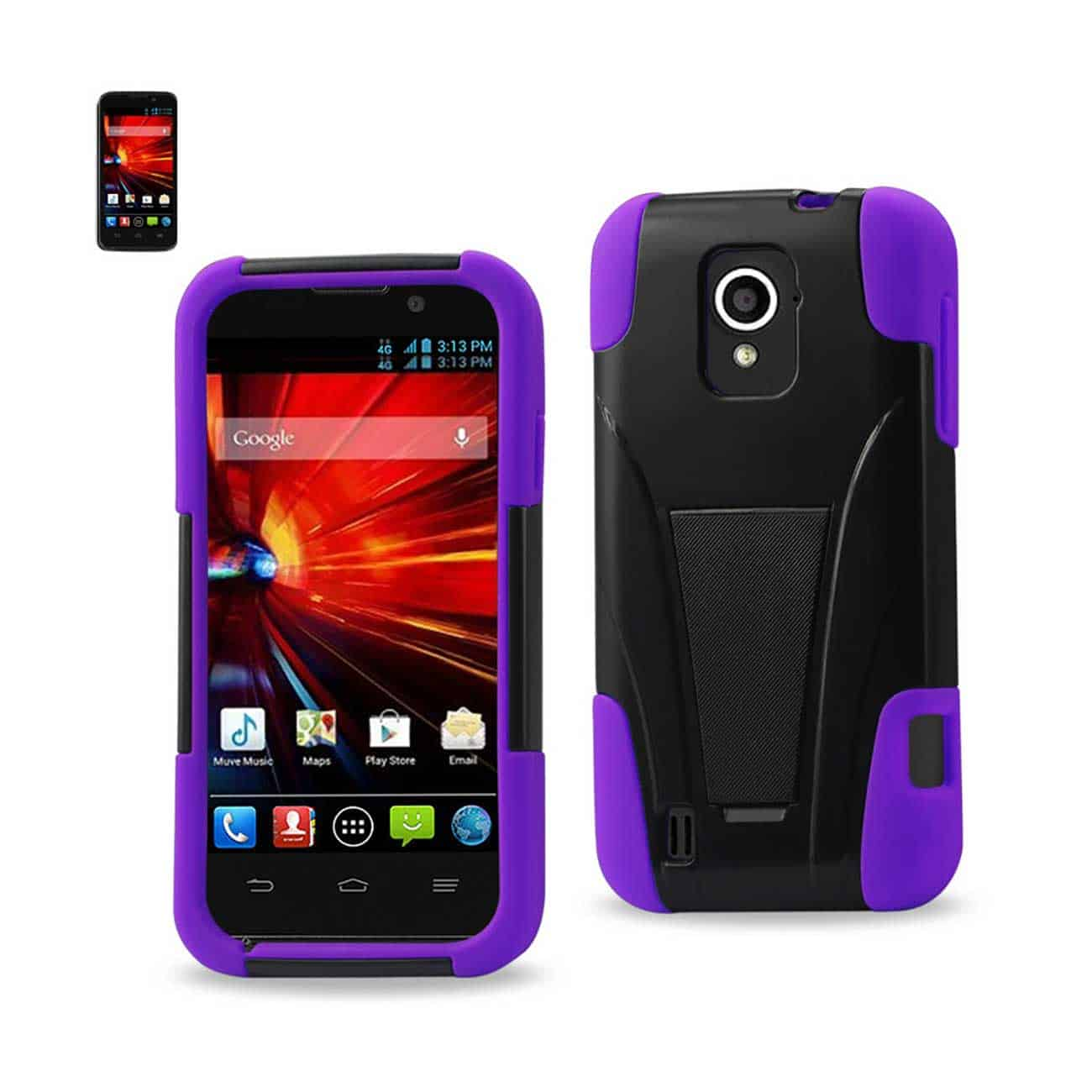 ZTE SOURCE HYBRID HEAVY DUTY CASE WITH KICKSTAND IN PURPLE BLACK