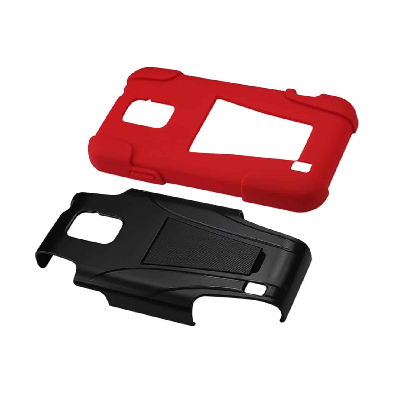 ZTE SOURCE HYBRID HEAVY DUTY CASE WITH KICKSTAND IN RED BLACK