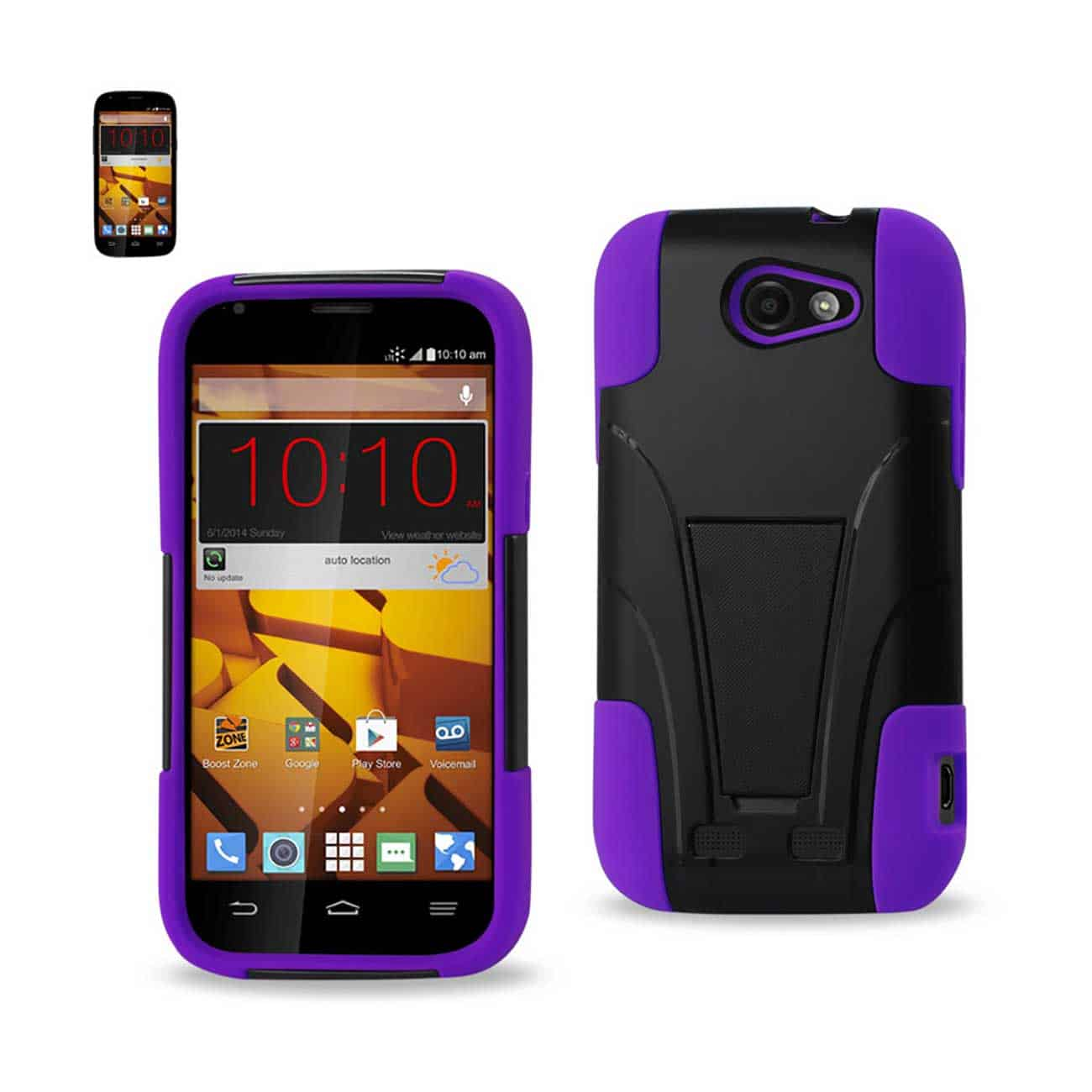 ZTE WARP SYNC HYBRID HEAVY DUTY CASE WITH KICKSTAND IN PURPLE BLACK