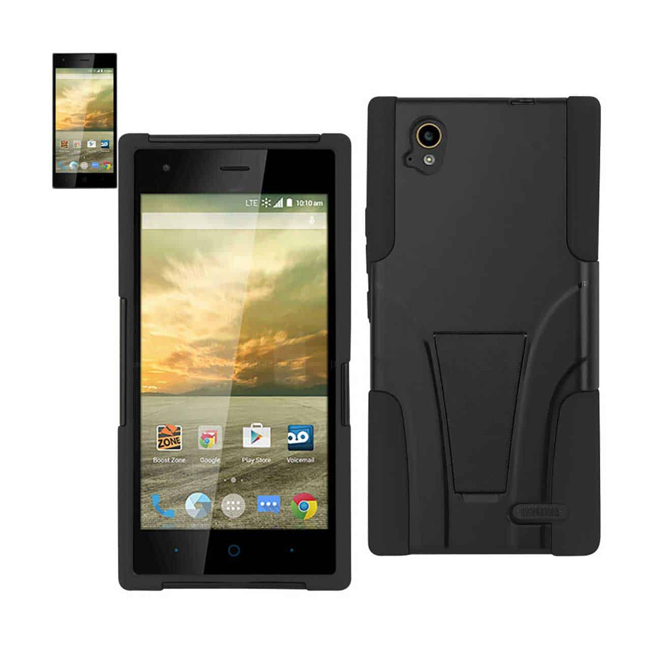 ZTE WARP ELITE HYBRID HEAVY DUTY CASE WITH KICKSTAND IN BLACK