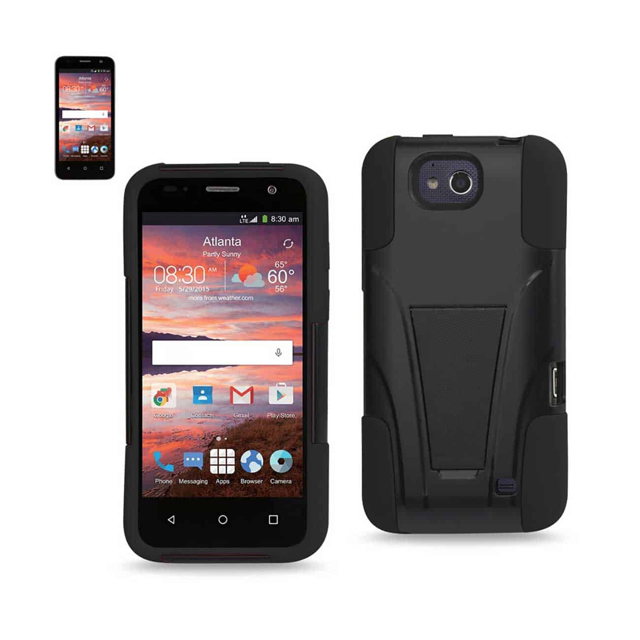 ZTE OVERTURE 2 HYBRID HEAVY DUTY CASE WITH KICKSTAND IN BLACK