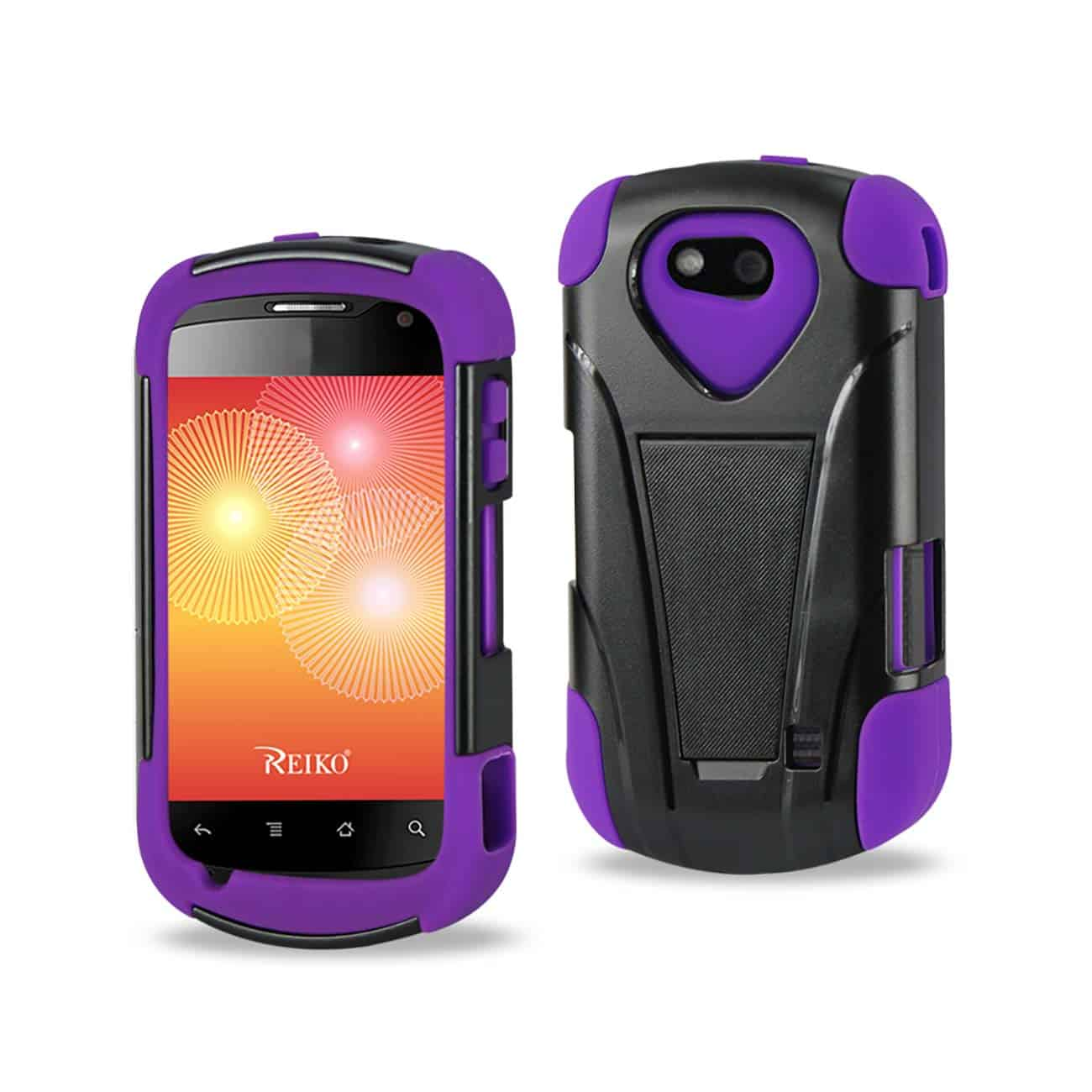 ZTE GROOVE HYBRID HEAVY DUTY CASE WITH KICKSTAND IN BLACK PURPLE