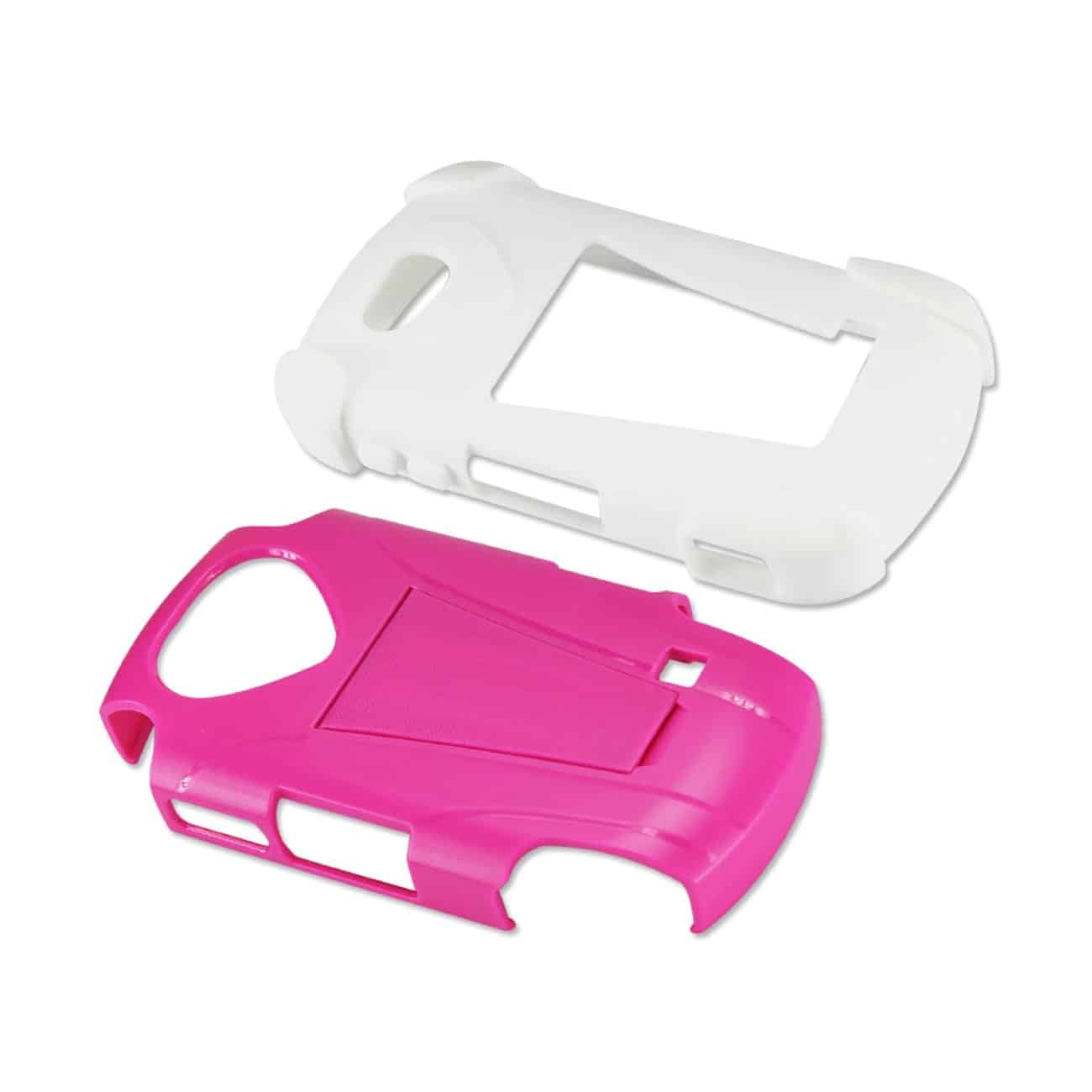 ZTE GROOVE HYBRID HEAVY DUTY CASE WITH KICKSTAND IN HOT PINK WHITE